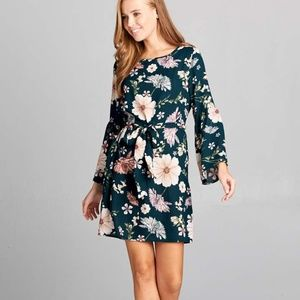 ReneeC. Women Trendy Floral Bell Sleeve Mini Dress